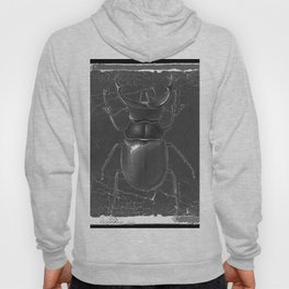 BLACK & WHITE  ANTIQUE STAG-HORNED BEETLE   PATTERNS  ART Hoody