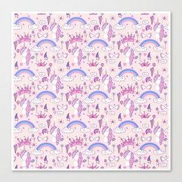 Unicorn Pattern | Mythical Creature Rainbow Horse Canvas Print