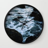 salt water Wall Clocks featuring Salt Water Study II by Teal Thomsen Photography