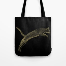 Abyssinian cat  jumping cracked metallic texture Tote Bag