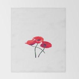 Three Poppies Throw Blanket