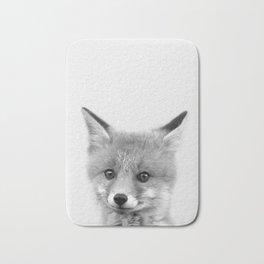 Black and white Fox print, Fox wall art, Nursery decor, Animal art, Baby animal prints Bath Mat