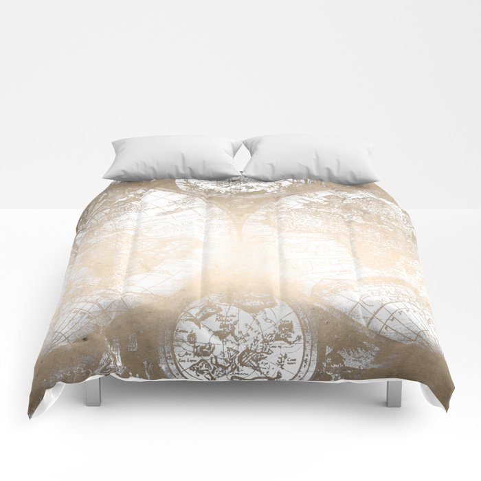 Antique White Gold World Map Comforters