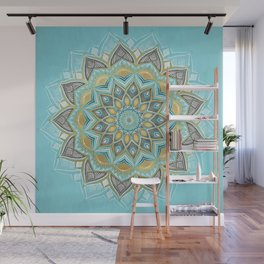 Cyan & Golden Yellow Sunny Skies Medallion Wall Mural