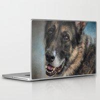 german shepherd Laptop & iPad Skins featuring Portrait of a Shepherd - German Shepherd by Jai Johnson
