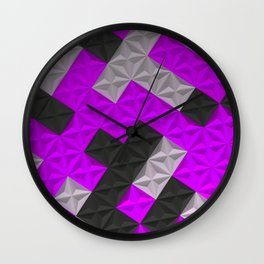 Pattern of black, white and purple pyramid tiles Wall Clock