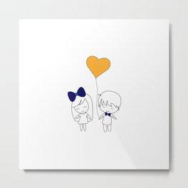 Girl and Boy with Yellow Heart Balloon Metal Print