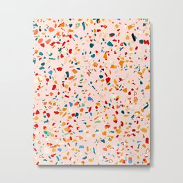 Blush Terrazzo, Eclectic Colorful Abstract Geometrical Shapes Tiles, Pop of Color Graphic Design Metal Print