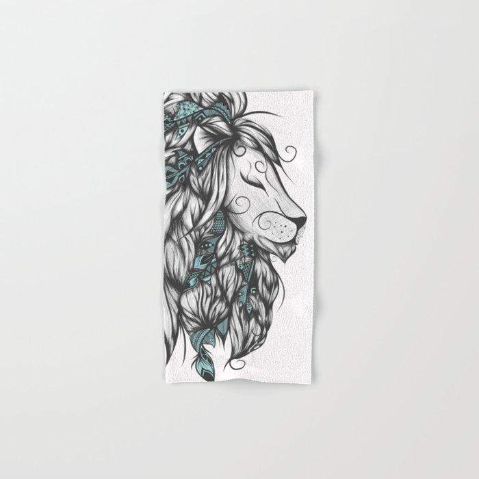 Poetic Lion Turquoise Hand & Bath Towel