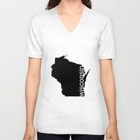 wisconsin V-neck T-shirts featuring Wisconsin by Isabel Moreno-Garcia
