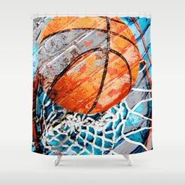 Modern basketball art 3 Shower Curtain