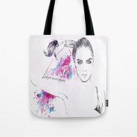cara delevingne Tote Bags featuring Cara Delevingne by Megan Sheridan