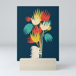 Hedgehog with flowers Mini Art Print