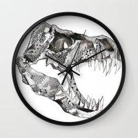 t rex Wall Clocks featuring T Rex by Cherry Virginia