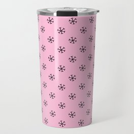 Black on Cotton Candy Pink Snowflakes Travel Mug