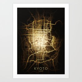 kyoto japan city night light map Art Print