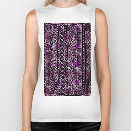 Abstract black pink hand painted geometrical aztec Biker Tank