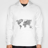 vintage map Hoodies featuring World Map Black Vintage by City Art Posters