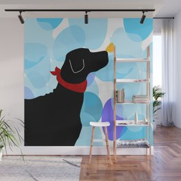 Black Labrador Retreiver Dog Print Wall Mural