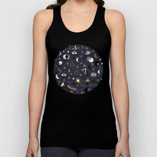 Galaxy ( gold and silver sky)  Unisex Tank Top