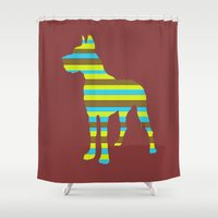 great dane Shower Curtains featuring Great Dane Stripes by Whimsical Notions Design