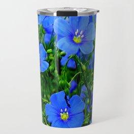 Dainty Blue Flax Linum Flowers Travel Mug