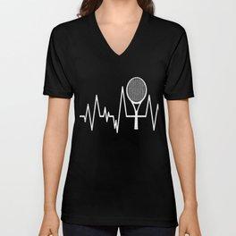 Tennis Heartbeat T-Shirt Lustiges Tennisspieler Geschenk Unisex V-Neck