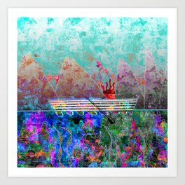 Canoe, Paradise, and Sunset Art Print