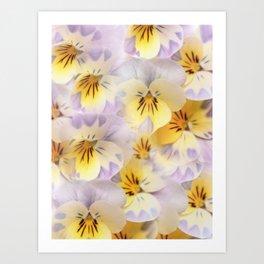 Pastel Vintage Pansies 2 Art Print