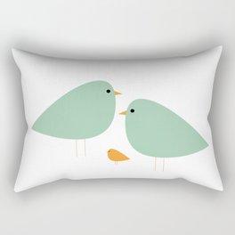 Bird Family in Celadon and Mustard on White. Minimalist Midcentury Scandinavian Rectangular Pillow