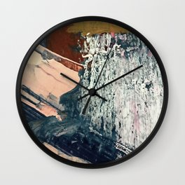 Kelly [2]: a bold, textured, abstract mixed media piece in fall colors/ blue, burnt sienna, ochre Wall Clock