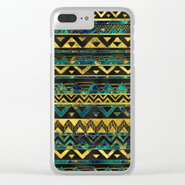 Gold and Teal Marble Tribal Boho Ethnic  Pattern Clear iPhone Case