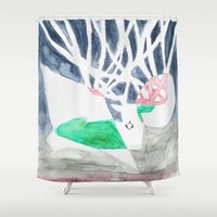 hunting Shower Curtains featuring Hunting Season by Autumn Steam