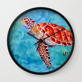Sea turtle and friend Wall Clock