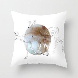 damaged fawns Throw Pillow