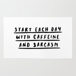 Start Each Day With Caffeine and Sarcasm black and white coffee quote home room wall decor Rug