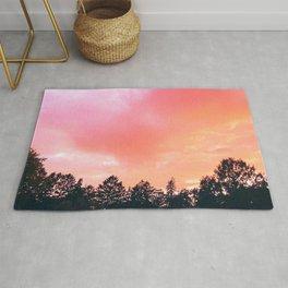 Red Haze | Pink Sky Treeline | Landscape Photography Rug
