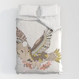 Flying high (a little girl) Comforters