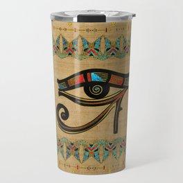 Egyptian Eye of Horus Ornament on papyrus Travel Mug
