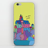 castle in the sky iPhone & iPod Skins featuring castle by PINT GRAPHICS