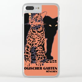 Retro vintage Munich Zoo big cats Clear iPhone Case