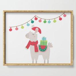 Christmas llamas V Serving Tray