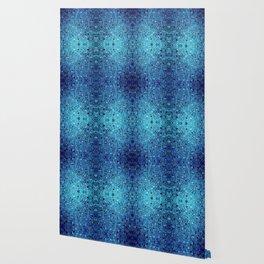 Deep blue glass mosaic Wallpaper