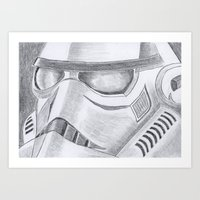 storm trooper Art Prints featuring Storm trooper by Mike Hermes