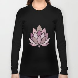 Elegant Glamorous Pink Rose Gold Lotus Flower Long Sleeve T-shirt