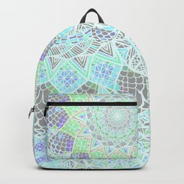 Spring Explosion: Bright Green and Blue Mandala Pattern Backpack