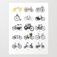 bicycles Art Prints featuring Bicycles by MuDesignbyMugeBaris