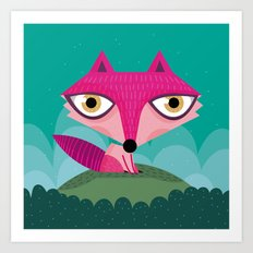 Hot pink fox Art Print