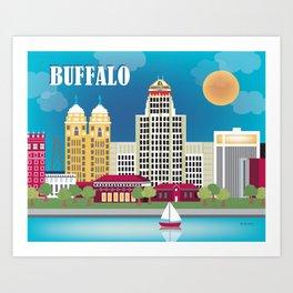 Buffalo, New York - Skyline Illustration by Loose Petals Art Print