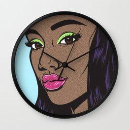 Black Fashion Model Comic Girl Wall Clock
